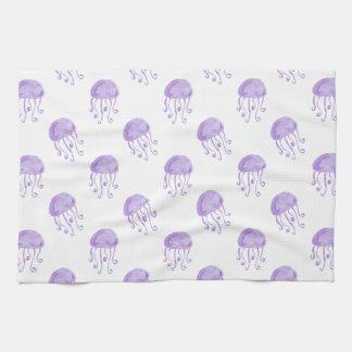 水彩画の紫色のくらげ キッチンタオル