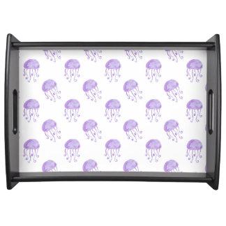 水彩画の紫色のくらげ トレー