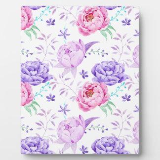 水彩画の紫色のシャクヤクパターン フォトプラーク