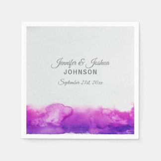 水彩画の紫色のプラムすみれ色の灰色の結婚式 スタンダードカクテルナプキン