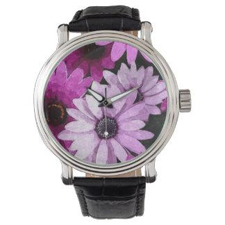 水彩画の紫色の花 腕時計