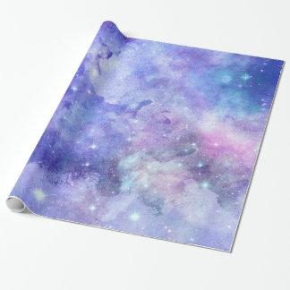 水彩画の紫色の青いおよびピンク ラッピングペーパー