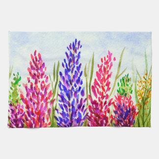 水彩画の紫色花の芸術のLupineの野生の花 キッチンタオル