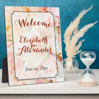 水彩画の結婚式のモモのバラの歓迎 フォトプラーク