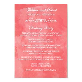 水彩画の結婚式プログラム カード