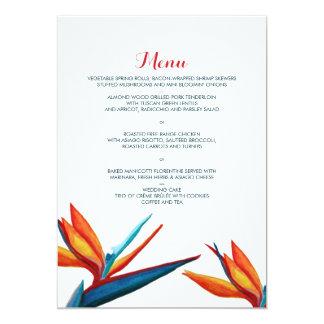 水彩画の結婚式メニュー極楽鳥 カード
