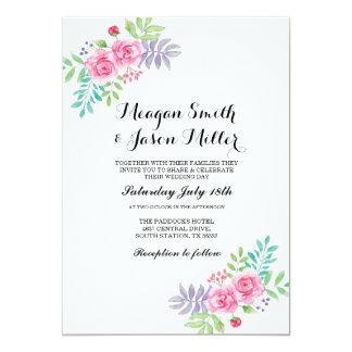 水彩画の結婚式招待状のバラのエレガントな招待 カード