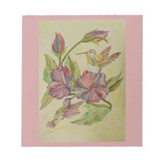 水彩画の絵画のハチドリおよびハイビスカス ノートパッド