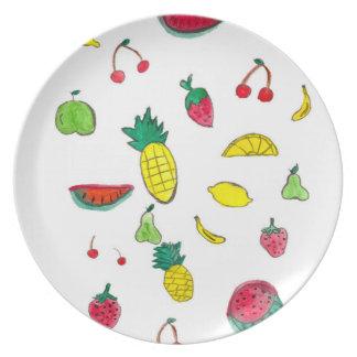 水彩画の絵画のフルーツが付いているメラミンプレート お皿