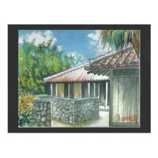 水彩画の絵画の郵便はがき沖縄Ishigaki ポストカード