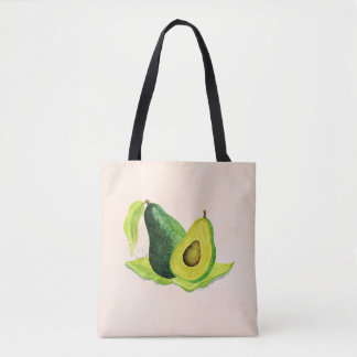 水彩画の緑のアボカドの静物画のフルーツ トートバッグ