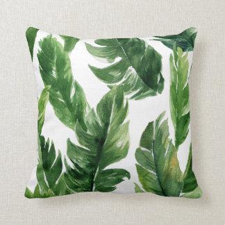 水彩画の緑の熱帯葉パターン クッション
