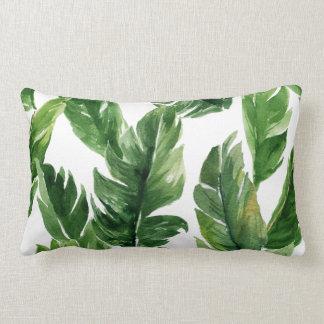 水彩画の緑の熱帯葉パターン ランバークッション