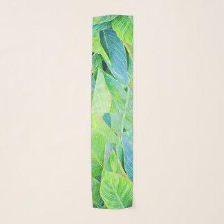 水彩画の緑の草木のジャングルの群葉 スカーフ