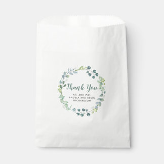 水彩画の緑の草木の結婚式は感謝していしています フェイバーバッグ