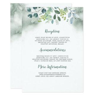 水彩画の緑の草木の結婚式情報ゲスト カード