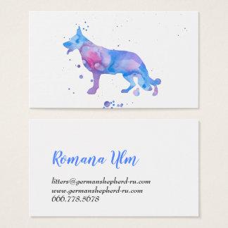 水彩画の羊飼い青くモダンな犬のイラストレーション 名刺
