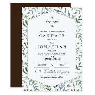 水彩画の群葉の緑の草木の結婚式 カード