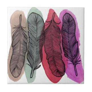 水彩画の羽 タイル