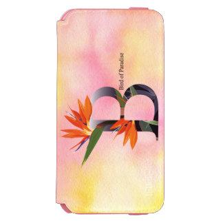 水彩画の背景との花のアルファベット iPhone 6/6Sウォレットケース