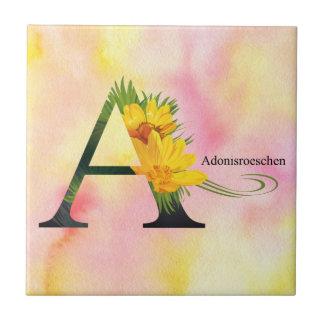 水彩画の背景- Lettとの花のアルファベット タイル