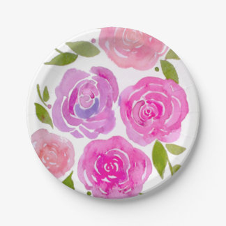 水彩画の色彩の鮮やかなバラの紙皿 ペーパープレート