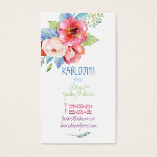 水彩画の色彩の鮮やかな花数々のな色の花柄 名刺