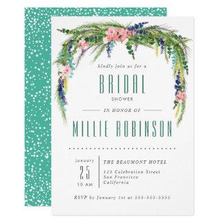 水彩画の花との春のブライダルシャワーの招待 カード