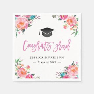 水彩画の花のおめでとうの卒業生の卒業パーティー スタンダードカクテルナプキン