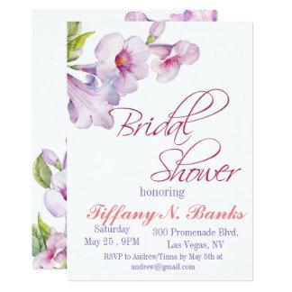水彩画の花のすみれ色のブライダルシャワーの招待 カード