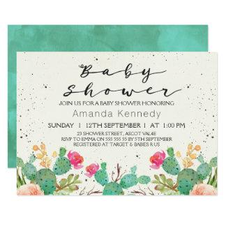 水彩画の花のサボテンのベビーシャワーの招待状 カード