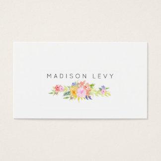 水彩画の花のシンプルでシックな名刺 名刺