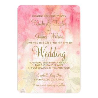 水彩画の花のピンクのフォーマルな結婚式招待状 カード