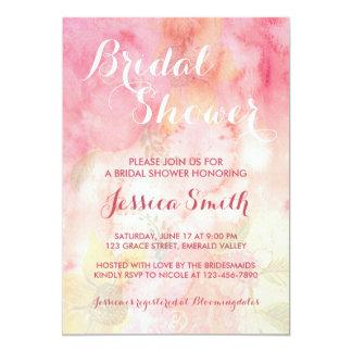 水彩画の花のピンクのブライダルシャワーの招待状 カード