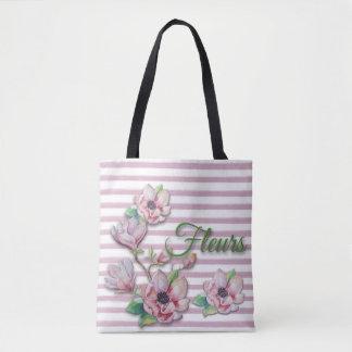 """水彩画の花のピンクのマグノリア""""フルーア"""" トートバッグ"""