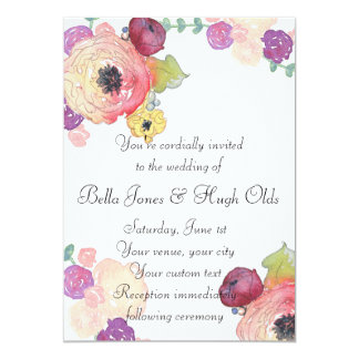 水彩画の花のピンクの真新しい結婚式招待状 カード