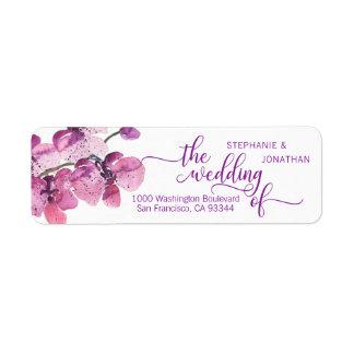 水彩画の花のプラム紫色の蘭の結婚 ラベル