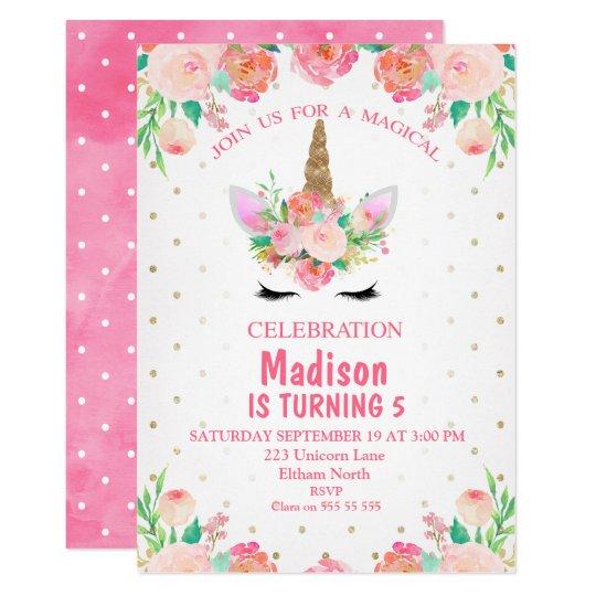 水彩画の花のユニコーンの誕生日の招待状 カード