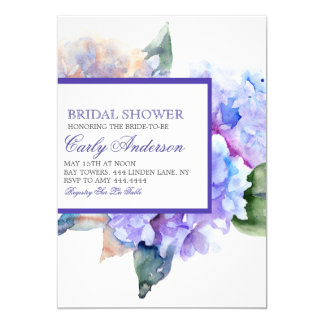 水彩画の花のラベンダーの花嫁の誕生日の招待 カード