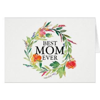 水彩画の花のリースの最も最高のなお母さんの文字 カード