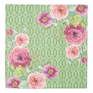 水彩画の花のリースの格子垣パターン緑の草木 掛け布団カバー