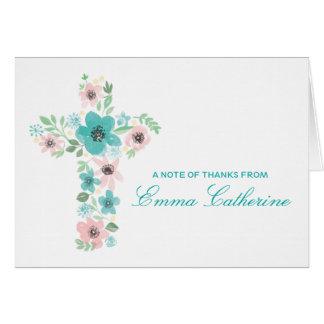 水彩画の花の十字の最初聖餐のノート カード