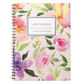 水彩画の花の名前入りなノート ノートブック