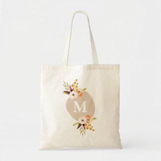 水彩画の花の名前入りなモノグラムのキャンバスのバッグ ベーシックトートバッグ
