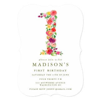 水彩画の花の女の子の第1誕生日の招待 12.7 X 17.8 インビテーションカード