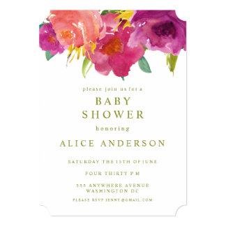 水彩画の花の庭のベビーシャワーの招待 12.7 X 17.8 インビテーションカード