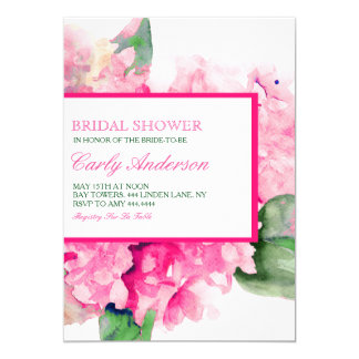 水彩画の花の暗い赤紫色のブライダルシャワーの招待状 カード