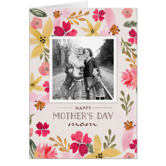 水彩画の花の母の日カード グリーティングカード
