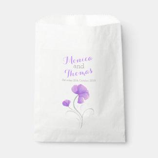 水彩画の花の紫色の灰色の結婚式の引き出物のバッグ フェイバーバッグ