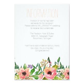 水彩画の花の結婚式の情報カード カード